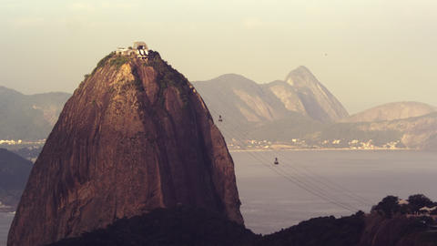 Static shot of cable cars traveling to Sugarloaf mountain Footage
