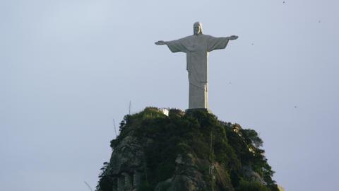 Medium aerial shot of Christ the Redeemer statue in Rio de Janeiro Footage