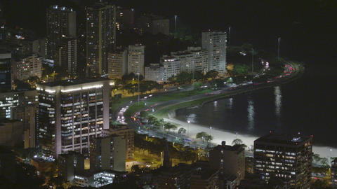 Time-lapse shot of Avenida Das Nacoes Unidas in downtown Rio De Janeiro at night Footage