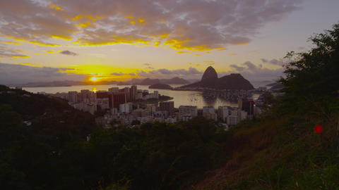Sunset shot over Botafogo Bay Footage