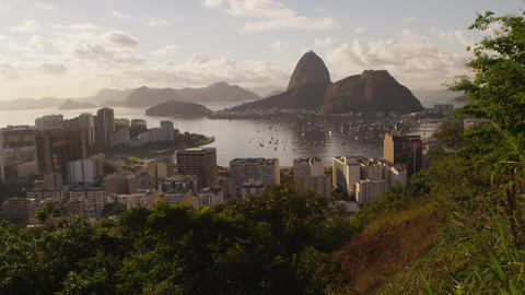 Tracking shot of Rio de Janeiro's Mountains and Guanabara Bay -shaky interferenc Footage