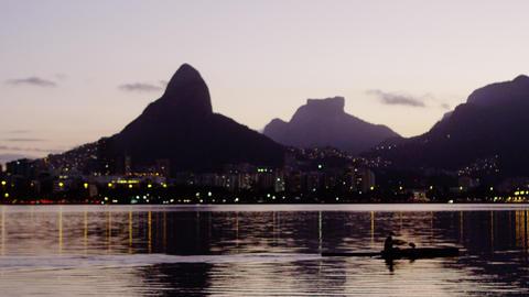 Dusk shot of a kayaker in Rio de Janeiro Footage