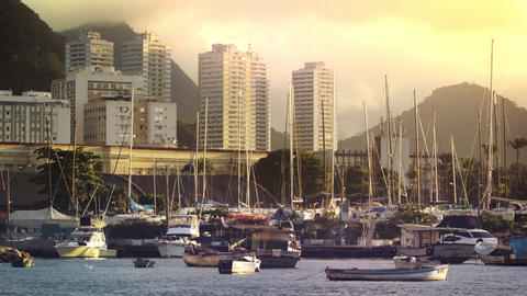 A static shot of boats docked at Marina da Gloria in Rio de Janeiro at evening, Footage
