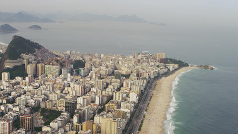 Aerial shot of shoreline and coast with Rio City Footage