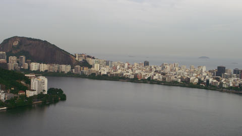 Aerial view of Brazilian Lake and Cityscape - Rio de Janeiro Footage