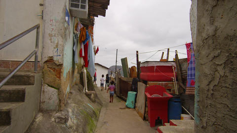 RIO DE JANEIRO, BRAZIL - JUNE 23: Slow dolly shot, children in favela, Jun 23, 2 Footage