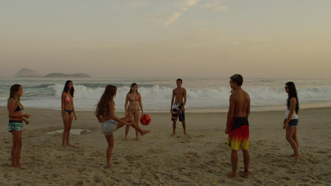A Group Of Teens Playing Soccer (football) On Ipan stock footage