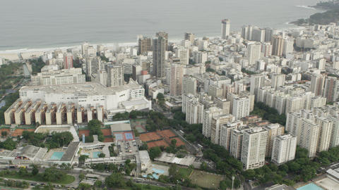 Aerial pan of waterfront skyscrapers Footage