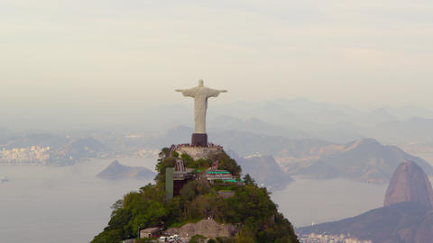 Tracking footage of Rio's Christ Redentor and bay Footage