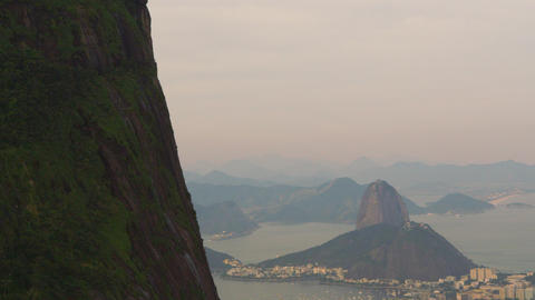 Tracking aerial shot of Rio de Janeiro, Brazil taken from a helicopter Footage