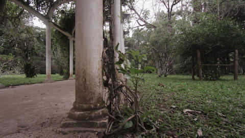 Slow left pan of Jardim Botanico walkway beneath arches Footage