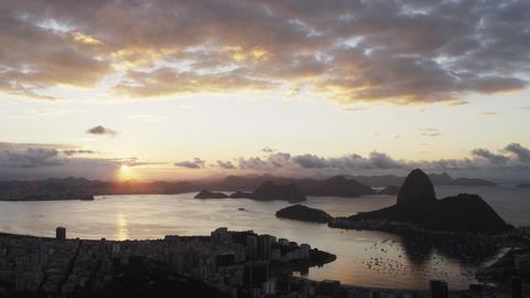 Panning shot of sunset over Rio de Janeiro, Brazil Footage