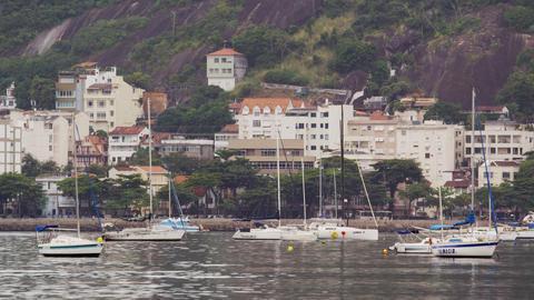 A town along the coastline in Rio de Janeiro, Brazil Footage