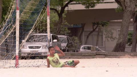 RIO DE JANEIRO, BRAZIL - JUNE 23: Slow motion - goalie blocks ball on June 23, 2 Live Action