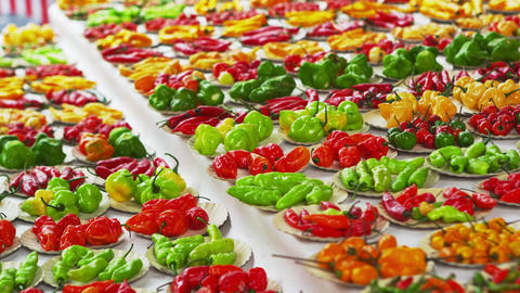 Panning shot of pepper varieties for sale in a market in Rio de Janeiro, Brazil Footage