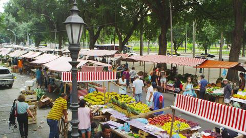 RIO DE JANEIRO, BRAZIL - JUNE 23: Slow motion of buyers at market on June 23, 20 Live Action