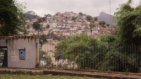 Slight tracking from left to right of favela in the heart of Brazil Footage