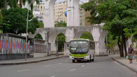 RIO DE JANEIRO - JUNE 23: Bus drives down street in Rio de Janeiro on June 23, 2 Footage
