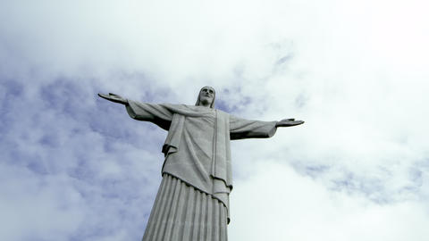 Low-angle static shot of Rio's Christ the Redeemer statue Footage