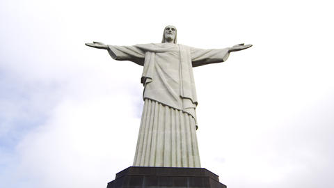 Pan Tilt Of The Statue Of Rio's Christ The Redeeme stock footage
