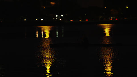 Night Kayaking Near Rio Shore stock footage