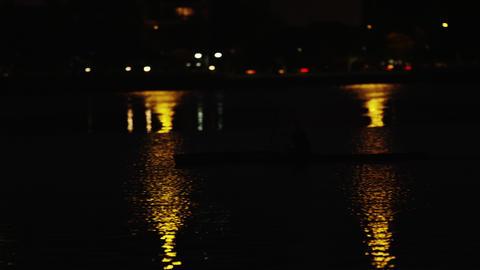 Night kayaking near Rio shore Footage
