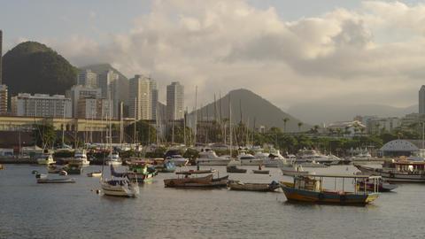 Pan of anchored boats in a hazy Rio marina Footage