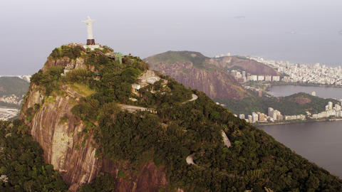 Cristo Redentor and the Brazilian Highlands from a Helicopter Footage