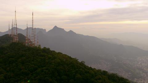 Brazilian Highlands and Radio Towers, Aerial Shot - Rio de Janeiro, Brazil Footage