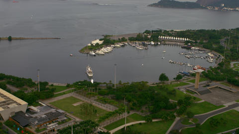 Aerial Shot Of Traffic And Harbor - Rio De Janeiro stock footage