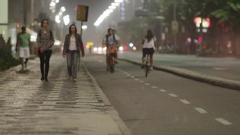 Static shot of biking lane and sidewalk in Rio Footage