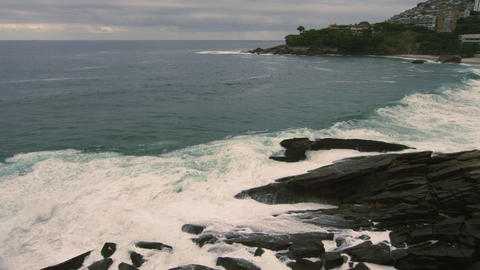 Slow motion shot of the horizon as seen from the Rio de Janeiro coastline in Bra Footage