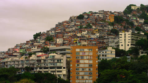 Long distance shot of houses in a favela in Rio de Janeiro, Brazil Footage