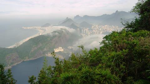 Shot of coastline from a mountain in Rio de Janeiro, Brazil Footage