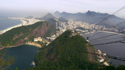 Shot of cable car going down the mountain in Rio de Janeiro, Brazil Footage