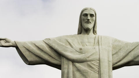 Pan of the statue of Christ that overlooks Rio de Janeiro Footage