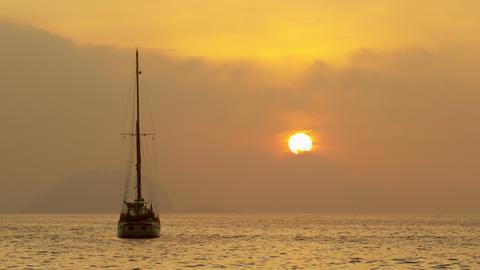 Boat Floating At Sea Near Rio De Janeiro, Brazil stock footage