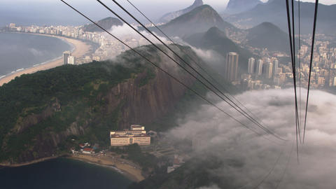 Slow pan of mist over the city in Rio de Janeiro, Brazil Footage