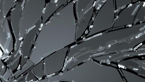 Demolished or Shattered glass slow motion. Alpha Animation