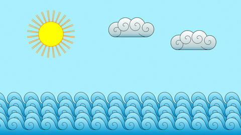 Cartoon Ocean Motion Background Animation