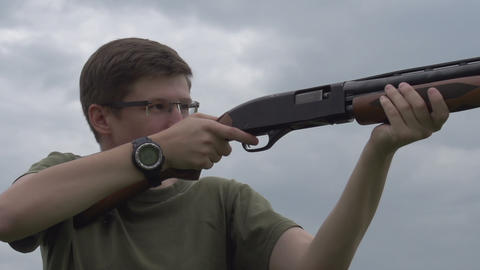 Recharging Shotgun stock footage
