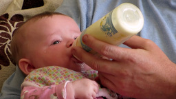 Baby Girl feeding Footage