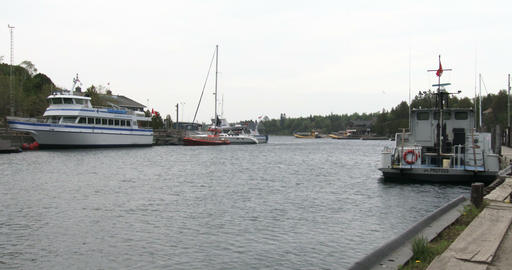 Boats docked in the small port of Tobermory Footage
