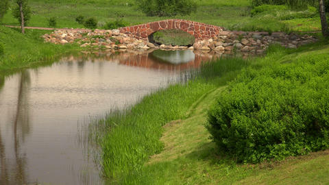 The stone bridge over the river. The estate Marino Footage