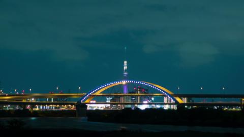 Tokyo Sky Tree light up night view time lapse Footage