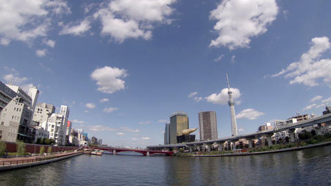 Tokyo Sky Tree and sumida river time lapse Footage