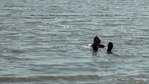 Salt and mud baths Lake Baskunchak Footage