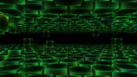 Abstract Moving Blocks - Loop Green Animation