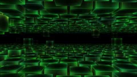 Abstract Moving Blocks - Loop Green Animation