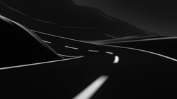 Road trip through the mountains. Black and white,  Animation